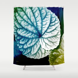 Blue Leaf Abstract Art Shower Curtain