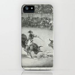 Mariano Ceballos riding a bull from the 'Bulls of Bordeaux',1825 iPhone Case