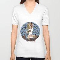 virgo V-neck T-shirts featuring VIRGO by Iria Prol