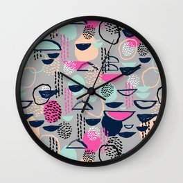 Rumba - pattern print retro cool hipster art colorful feminine shapes abstract Wall Clock