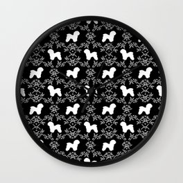 Bichon Frise dog florals silhouette black and white minimal pet art dog breeds silhouettes Wall Clock