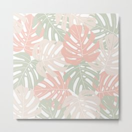 Pastel monstera leaves Jungle leaves Tropical Leaves Metal Print