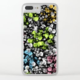 Lime Green Blue Pink Black White Retro Abstract Polka Dots Pattern Clear iPhone Case