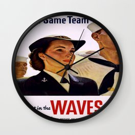 Vintage poster - Enlist in the Waves Wall Clock