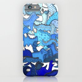 Blue Dinosaur Gradient iPhone Case