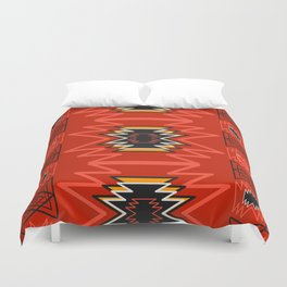 Ethnic lines in red Duvet Cover