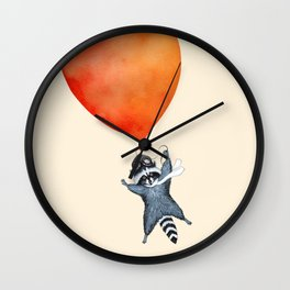 Raccoon and Balloon Wall Clock