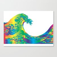 hokusai Canvas Prints featuring Hokusai Rainbow_A by FACTORIE