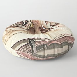 Roses on Book Library Art A113 Floor Pillow