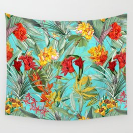 Vintage & Shabby Chic - Colorful Tropical Blue Garden Wall Tapestry