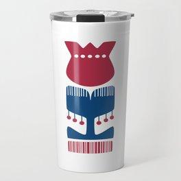 Nordic Red Flower Travel Mug