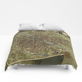 Old Paris Map and other manuscripts Comforters