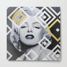 Marilyn with Abstract Art Metal Print