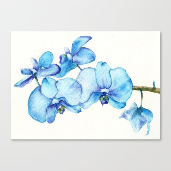 Blue Orchids Two - Watercolor Canvas Print