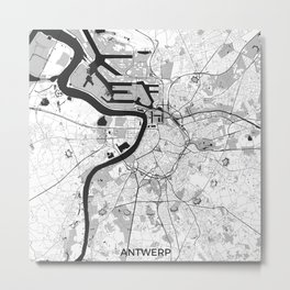 Antwerp Map Gray Metal Print