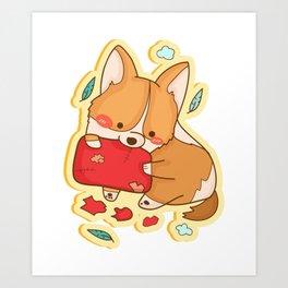 Corgi Dog Funny Gift Art Print