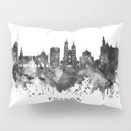 Krakow Poland Skyline BW Pillow Sham