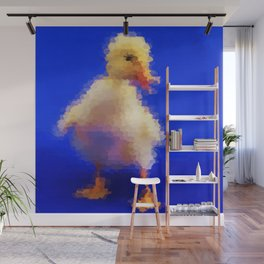 pretty little cute duck painted in blue background Wall Mural