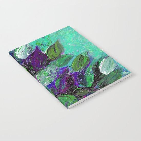 BLOOMING BEAUTIFUL 1 - Floral Painting Mint Green Seafoam Purple White Leaves Petals Summer Flowers Notebook