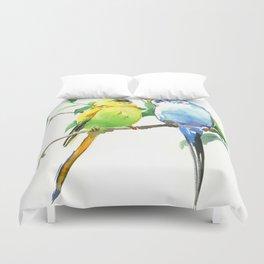 Budgies, Animal art, love, two birds bird artwork, bird pet Duvet Cover
