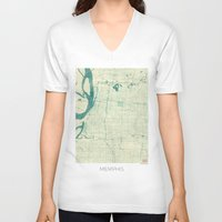 memphis V-neck T-shirts featuring Memphis Map Blue Vintage by City Art Posters