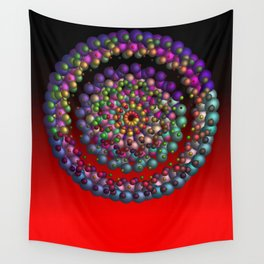 round, colorful, red Wall Tapestry