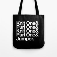 knitting Tote Bags featuring Knitting by Outside In