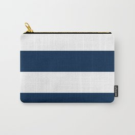 Wide Horizontal Stripes - White and Oxford Blue Carry-All Pouch