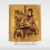 mad max Shower Curtains featuring Homage to Mad Max by Giorgio Finamore