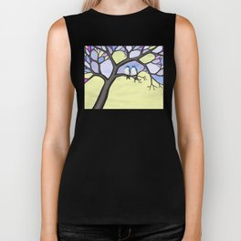 tree swallows in the stained glass tree Biker Tank