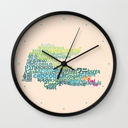 Crocodile in Different Languages Wall Clock
