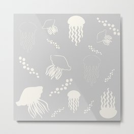 Jellyfish grey Metal Print