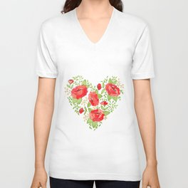 Rose Heart watercolor Unisex V-Neck