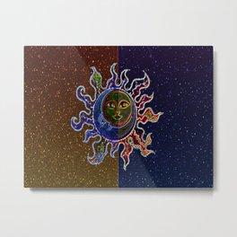 Neon Sun Moon Metal Print