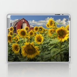 Golden Blooming Sunflowers with Red Barn Laptop & iPad Skin