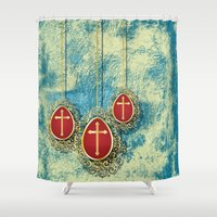 pagan Shower Curtains featuring Beautiful Gold Crosses on a pale blue and yellow textured background by Wendy Townrow