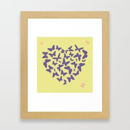 Ultra violet heart shape made from butterfly silhouettes. Framed Art Print