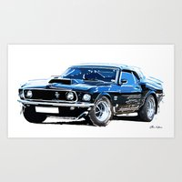 muscle Art Prints featuring american muscle  by Vector Art