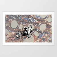 Riding on the universal mind Art Print