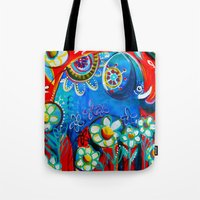 ellie goulding Tote Bags featuring Ellie by Anna Bartlett