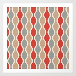 Ogee Pattern 743 Gray Beige and Red Art Print