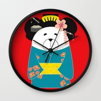 geisha Wall Clocks featuring Geisha by EinarOux