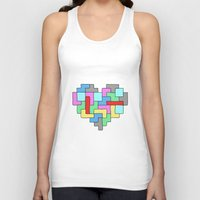 tetris Tank Tops featuring Tetris Heart by #dancingpenguin