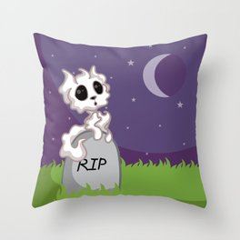 Adorable Ghost Kitty Throw Pillow