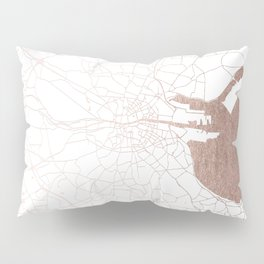 Dublin White on Rosegold Street Map II Pillow Sham