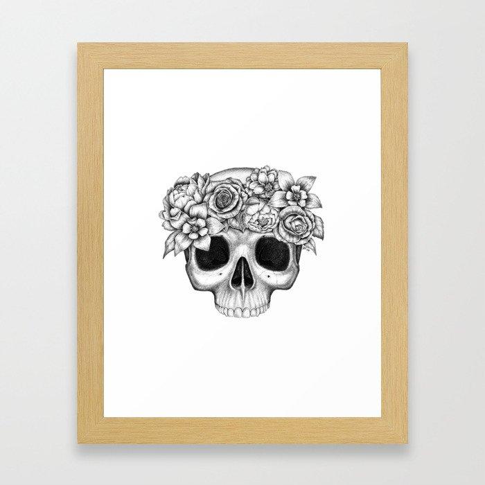 Flowerskull Framed Art Print