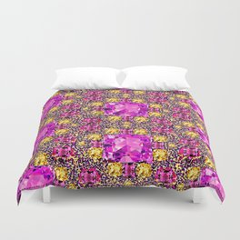 BEAUTIFUL FACETED PINK SAPPHIRES & CITRINES GEMS ART Duvet Cover