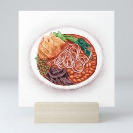 Watercolor Illustration of Chinese Cuisine - Liuzhou River Snails Rice Noodle | 螺蛳粉 Mini Art Print