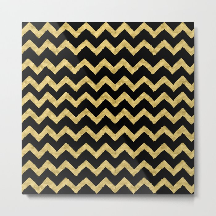Chevron Black And Gold Metal Print