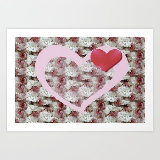 Bed of Roses Love Art Print